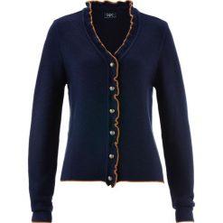 Swetry rozpinane damskie: Sweter rozpinany ludowy z falbankami bonprix ciemnoniebiesko-karmelowy