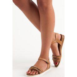 Sandały damskie: Casualowe płaskie sandały PRIMAVERA odcienie brązu i beżu