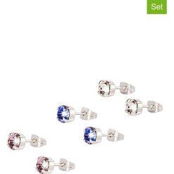 Kolczyki damskie: Kolczyki-wkrętki z kryształkami Swarovski (3 pary)