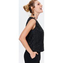 DAMSKA BLUZKA Z WYJĄTKOWEGO MATERIAŁU. Czarne bluzki wizytowe marki bonprix, eleganckie. Za 89,99 zł.