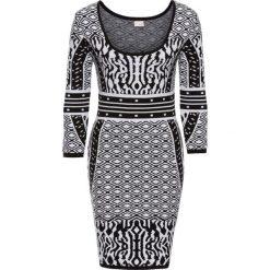 Sukienki: Sukienka dzianinowa bonprix czarno-biały