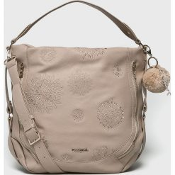 Desigual - Torebka. Szare torebki klasyczne damskie marki Desigual, z haftami, z materiału, duże, z haftem. Za 349,90 zł.