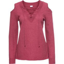 Swetry klasyczne damskie: Sweter ze sznurowaniem i wycięciami na ramionach bonprix jasnoczerwony melanż
