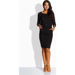 Czarna Elegancka Sukienka Zapinana na Guziki. Czarne sukienki balowe marki Molly.pl, do pracy, l, z bawełny, z okrągłym kołnierzem, z długim rękawem, dopasowane. Za 116,90 zł.