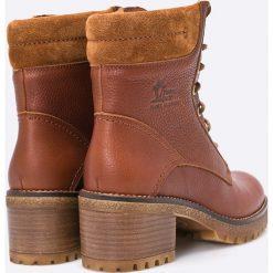 Panama Jack - Botki Phoebe. Brązowe buty zimowe damskie Panama Jack, z materiału, z okrągłym noskiem, na sznurówki. W wyprzedaży za 399,90 zł.