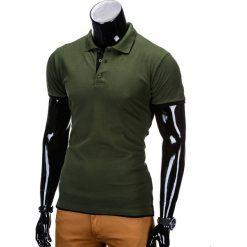KOSZULKA MĘSKA POLO BEZ NADRUKU S758 - CIEMNOZIELONA. Czarne koszulki polo marki Ombre Clothing, m, z bawełny, z kapturem. Za 39,00 zł.