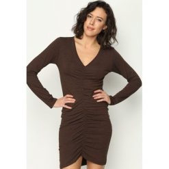 Sukienki: Brązowa Sukienka Midnight Fashion