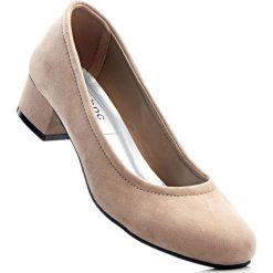 Czółenka bonprix brunatny. Brązowe buty ślubne damskie bonprix, na obcasie. Za 74,99 zł.