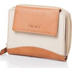 Skórzany portfel w kolorze kremowym - 12,5 x 10 x 3 cm. Białe portfele męskie I MEDICI FIRENZE, ze skóry. W wyprzedaży za 148,95 zł.