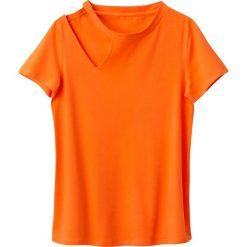 Prosta koszulka ozdoba na prawym ramieniu. Brązowe bluzki z odkrytymi ramionami La Redoute Collections, l, z bawełny, z okrągłym kołnierzem, z krótkim rękawem. Za 35,24 zł.