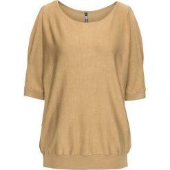 Swetry damskie: Sweter z wycięciami bonprix cappuccino