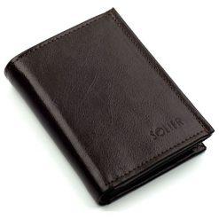 Portfele męskie: Elegancki brązowy skórzany męski portfel SOLIER  MARIAH