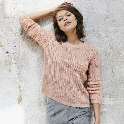 Kardigany damskie: Sweter z grubej dzianiny z okrągłym dekoltem