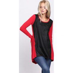 Czarno-Czerwona Bluzka Dark Cloud. Czarne bluzki asymetryczne Born2be, l, z długim rękawem. Za 29,99 zł.