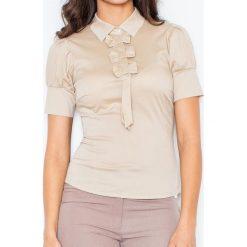 Bralety: Beżowa Elegancka Bluzka z Kokardkami