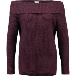 Swetry damskie: Vila VIMATCHIE OFFSHOULDER Sweter fig/black/dark grey melange