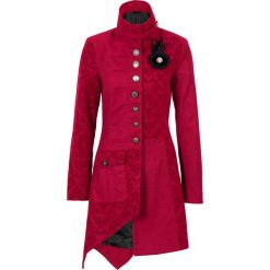 Płaszcz bonprix czerwony. Czerwone płaszcze damskie pastelowe bonprix, z aplikacjami, z materiału. Za 319,99 zł.