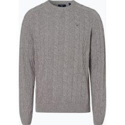 Gant - Sweter męski, szary. Szare swetry klasyczne męskie marki GANT, m, z haftami, z wełny, z klasycznym kołnierzykiem. Za 589,95 zł.