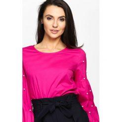 Fuksjowa Bluzka Artist's Muse. Różowe bluzki longsleeves marki Born2be, s, z okrągłym kołnierzem. Za 69,99 zł.