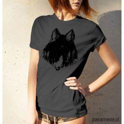 Koszulka damska - WILK SZARY. Szare bluzki damskie Pakamera, z motywem zwierzęcym. Za 99,00 zł.