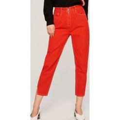 Spodnie z wysokim stanem: Jeansy z wysokim stanem - Czerwony