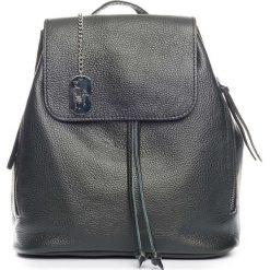 Plecaki damskie: Skórzany plecak w kolorze czarnym – 29 x 32 x 12 cm