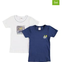 T-shirty chłopięce z nadrukiem: Koszulki (2 szt.) w kolorze białym i granatowym