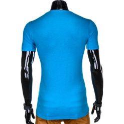 T-SHIRT MĘSKI Z NADRUKIEM S879 - NIEBIESKI. Niebieskie t-shirty męskie z nadrukiem marki Ombre Clothing, m. Za 29,00 zł.