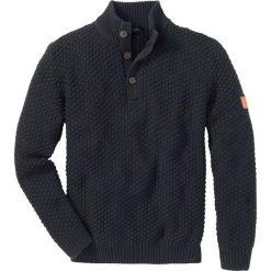 Sweter Slim Fit bonprix antracytowy melanż. Szare swetry klasyczne męskie marki bonprix, l, z aplikacjami. Za 99,99 zł.