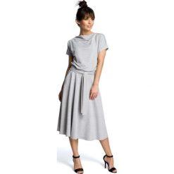 Sukienki: Szara Midi Sukienka z Szerokim Dołem