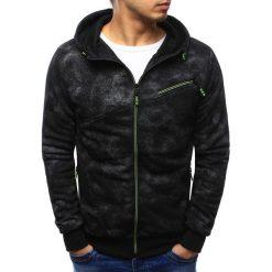 Bluzy męskie: Bluza męska rozpinana czarna z kapturem (bx3422)