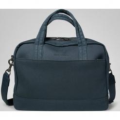 """Torba """"106"""" w kolorze granatowym na laptopa - 45 x 42 x 12 cm. Niebieskie torby na laptopa Marc O'Polo, w paski, z bawełny. W wyprzedaży za 409,95 zł."""