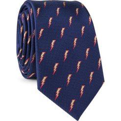 Krawat w błyskawice KWGR001671. Niebieskie krawaty męskie Giacomo Conti, z mikrofibry. Za 69,00 zł.
