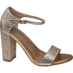 Rzymianki damskie: sandały na obcasie Catwalk złote