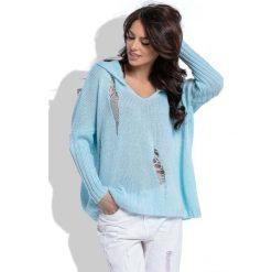 Swetry oversize damskie: Błękitny Nietuzinkowy Oversizowy Sweter z Kapturem