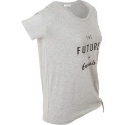 T-shirt z nadrukiem, krótki rękaw bonprix jasnoszary mleanż. Szare t-shirty damskie marki bonprix, z nadrukiem, z asymetrycznym kołnierzem. Za 37,99 zł.