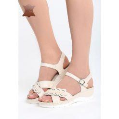 Beżowe Skórzane Sandały Light Me Up. Brązowe sandały damskie marki Reserved, na platformie. Za 109,99 zł.