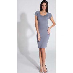 Sukienki: Szara Sukienka Dopasowana z Odkrytymi Plecami
