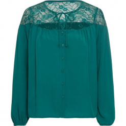 Bluzka z koronką bonprix zielony. Zielone bluzki koronkowe bonprix. Za 99,99 zł.