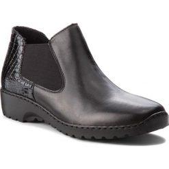 Sztyblety RIEKER - L6090-02 Black. Czarne buty zimowe damskie marki Kazar, ze skóry, na wysokim obcasie, na sznurówki. Za 239,00 zł.