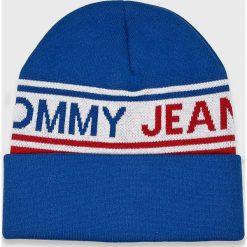 Tommy Jeans - Czapka. Niebieskie czapki zimowe męskie Tommy Jeans, na zimę, z bawełny. Za 179,90 zł.