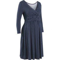Sukienki: Sukienka dla ciężarnych i karmiących z dżerseju bonprix ciemnoniebiesko-biel wełny w groszki
