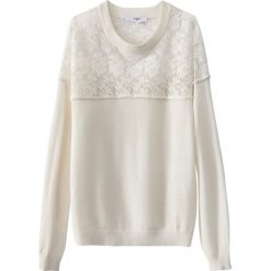 Kardigany damskie: Sweter z koronką, okrągłym dekoltem i długim rękawem
