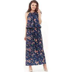 Długa Letnia Granatowa Sukienka w Kwiatki wiązana na Karku. Czerwone długie sukienki marki Molly.pl, l, z jeansu, biznesowe, z dekoltem na plecach, z długim rękawem. Za 128,90 zł.