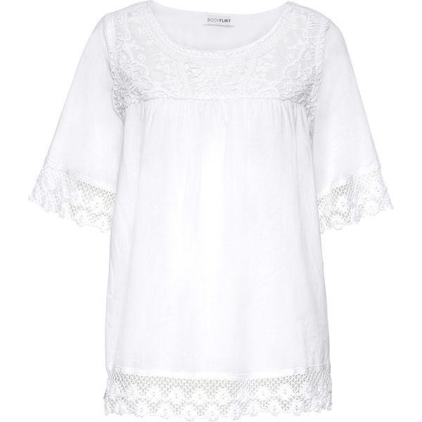 101db90d8f9673 Bluzka bonprix biały - Białe bluzki damskie bonprix, z koronki, z ...