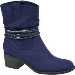 Botki damskie Graceland niebieskie. Czarne botki damskie na obcasie marki Graceland, w kolorowe wzory, z materiału. Za 139,90 zł.
