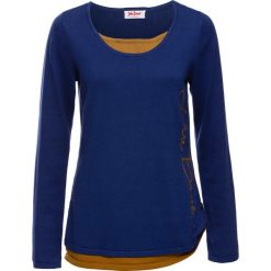 Sweter 2 w 1, długi rękaw bonprix kobaltowy. Niebieskie swetry klasyczne damskie marki bonprix. Za 99,99 zł.