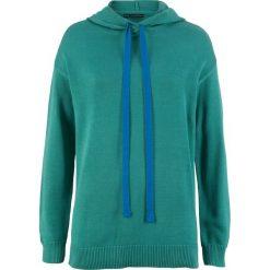 Swetry klasyczne damskie: Sweter dzianinowy z kapturem bonprix dymny szmaragdowy