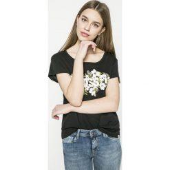 Reebok - Top Floral Read Easy. Szare topy sportowe damskie Reebok, l, z nadrukiem, z bawełny, z okrągłym kołnierzem. W wyprzedaży za 59,90 zł.
