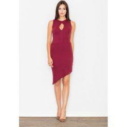 Sukienki: Bordowa Asymetryczna Dopasowana Sukienka z Łezką